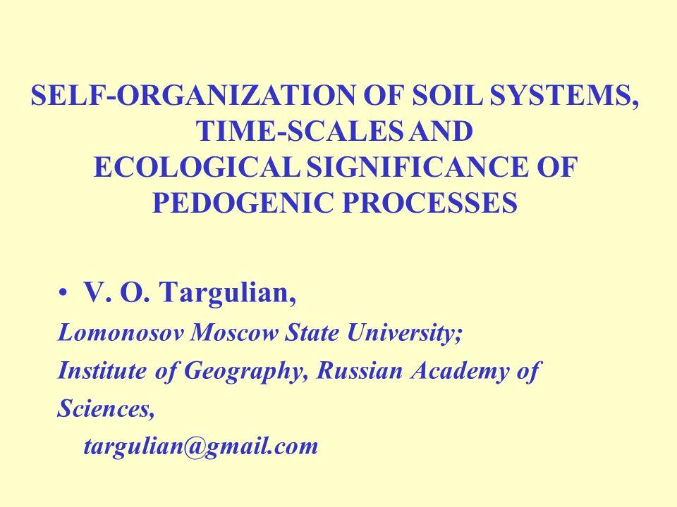 V. O. Targulian, Lomonosov Moscow State University; Institute of Geography, Russian Academy of Sciences, targulian@gmail.com SELF-ORGANIZATION OF SOIL