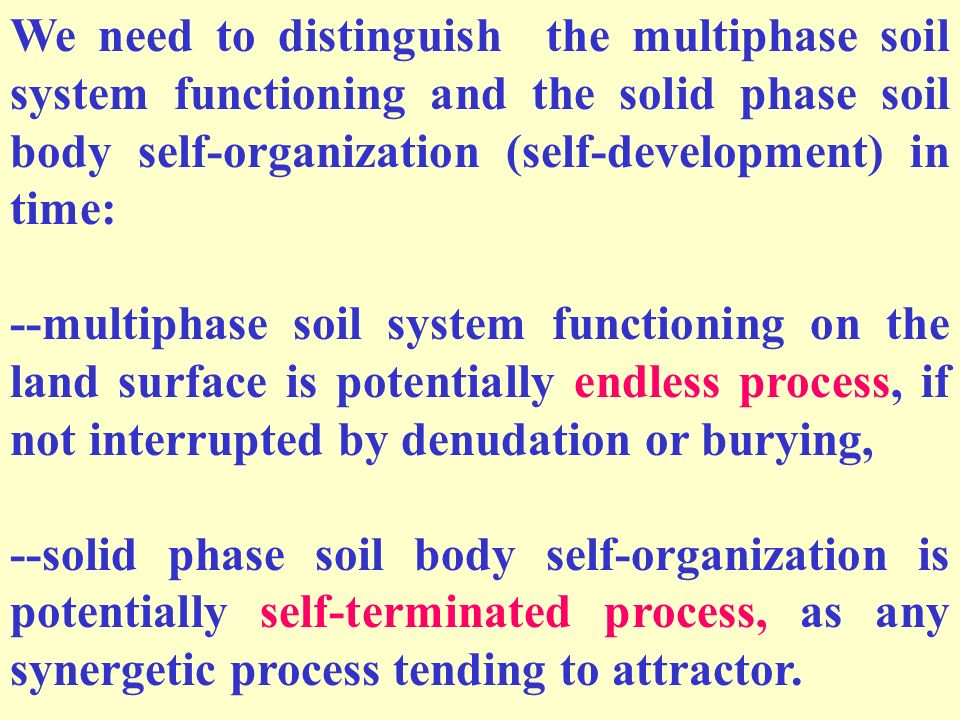 We need to distinguish the multiphase soil system functioning and the solid phase soil body self-organization (self-development) in time: --multiphase