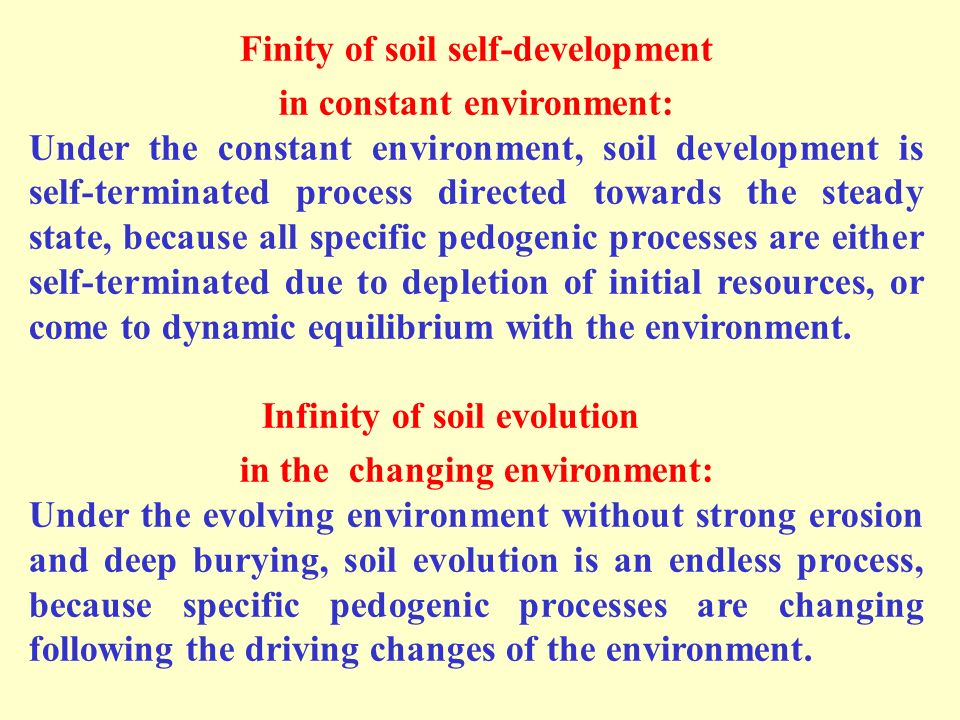 Finity of soil self-development in constant environment: Under the constant environment, soil development is self-terminated process directed towards