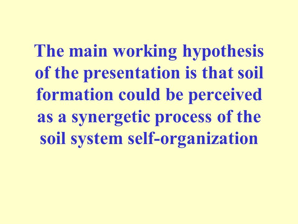 The main working hypothesis of the presentation is that soil formation could be perceived as a synergetic process of the soil system self-organization