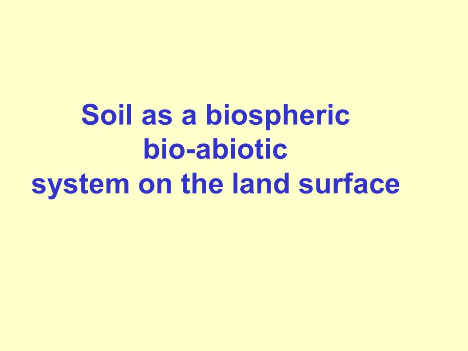 Soil as a biospheric bio-abiotic system on the land surface
