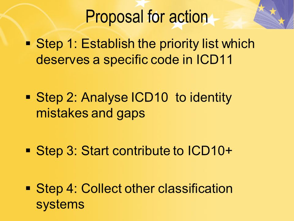 Proposal for action Step 1: Establish the priority list which deserves a specific code in ICD11 Step 2: Analyse ICD10 to identity mistakes and gaps Step 3: Start contribute to ICD10+ Step 4: Collect other classification systems