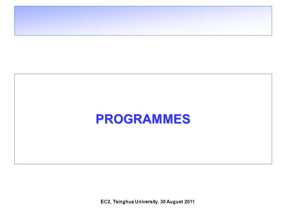 EC2, Tsinghua University, 30 August 2011 PROGRAMMES