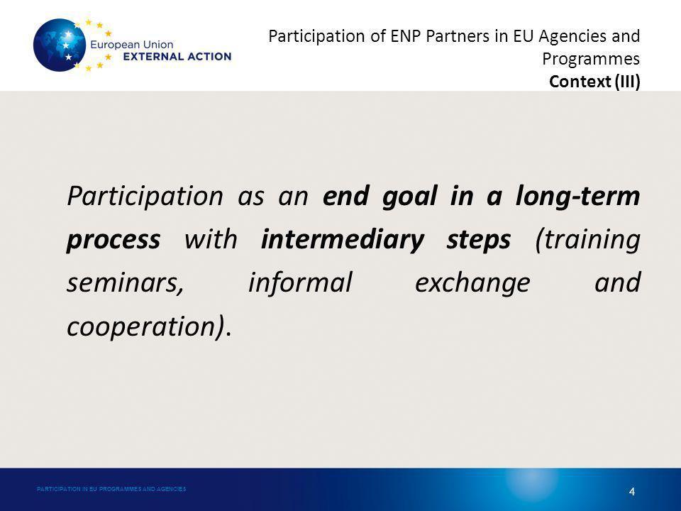 Arrangements signed between ENP partners and EU Agencies: – European Aviation Safety Agency (EASA): technical cooperation arrangements with Armenia, Azerbaijan, Georgia, Israel, Moldova, Morocco and Ukraine.