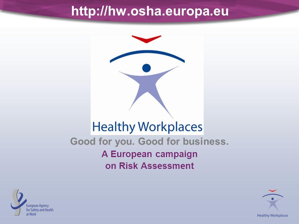 http://hw.osha.europa.eu Good for you. Good for business. A European campaign on Risk Assessment