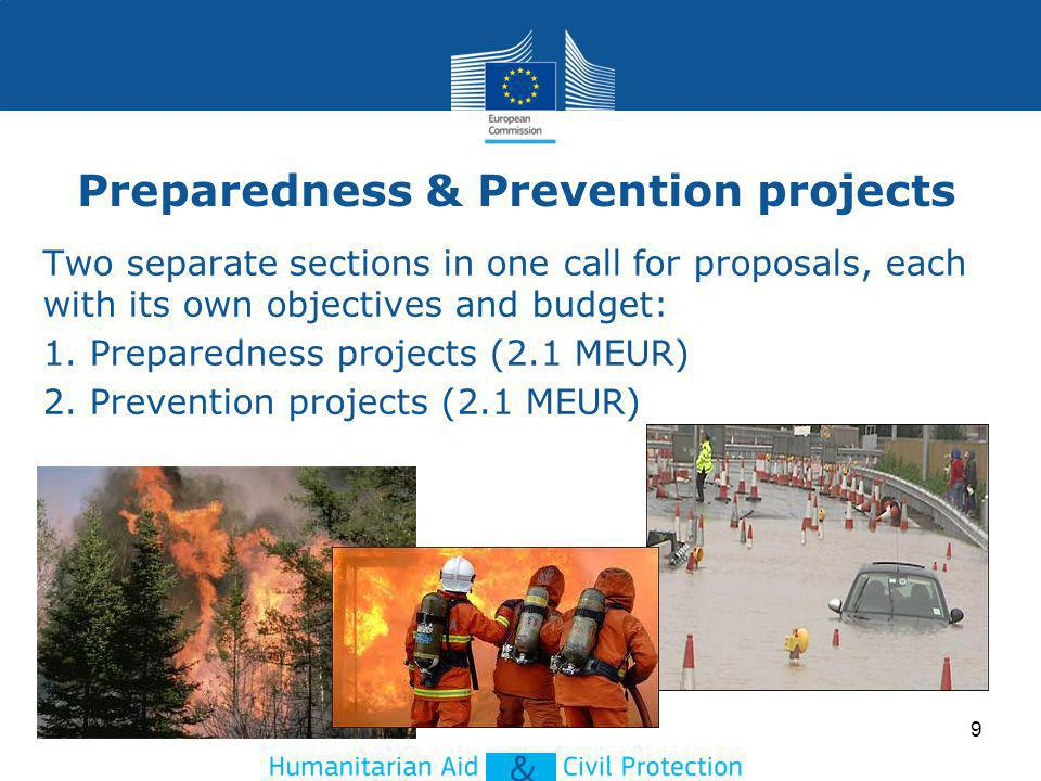Preparedness & Prevention projects Two separate sections in one call for proposals, each with its own objectives and budget: 1. Preparedness projects