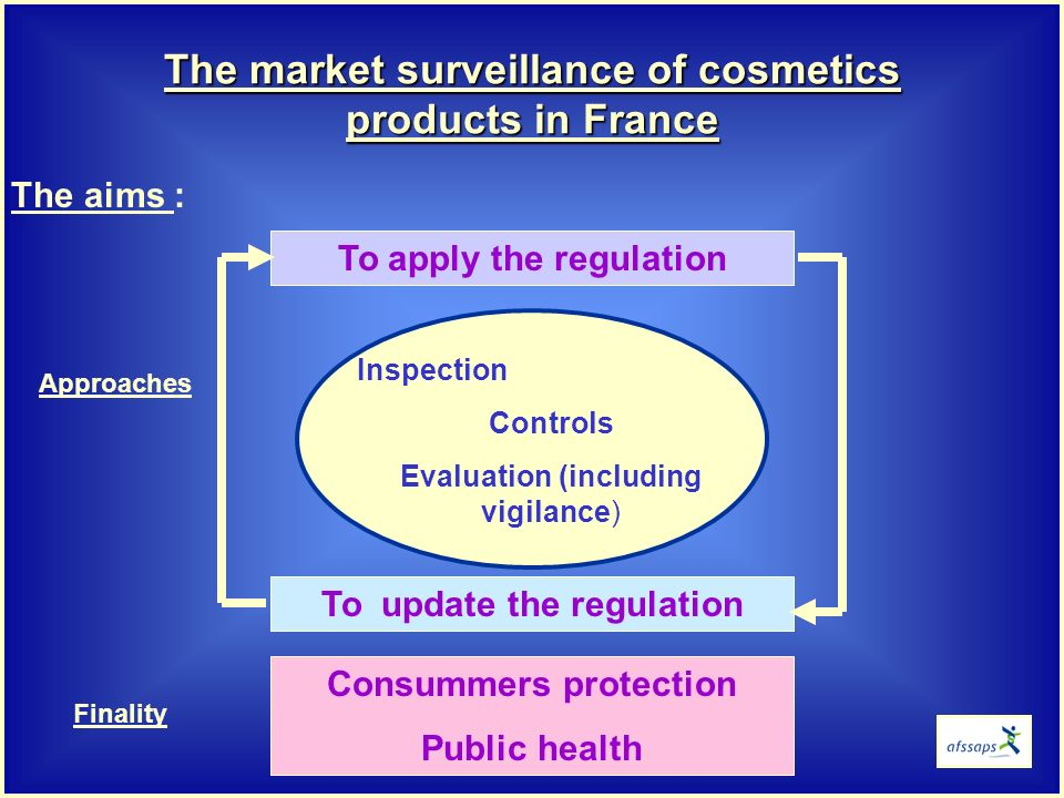 The aims : To apply the regulation The market surveillance of cosmetics products in France Inspection Controls Evaluation (including vigilance) To update the regulation Consummers protection Public health Approaches Finality