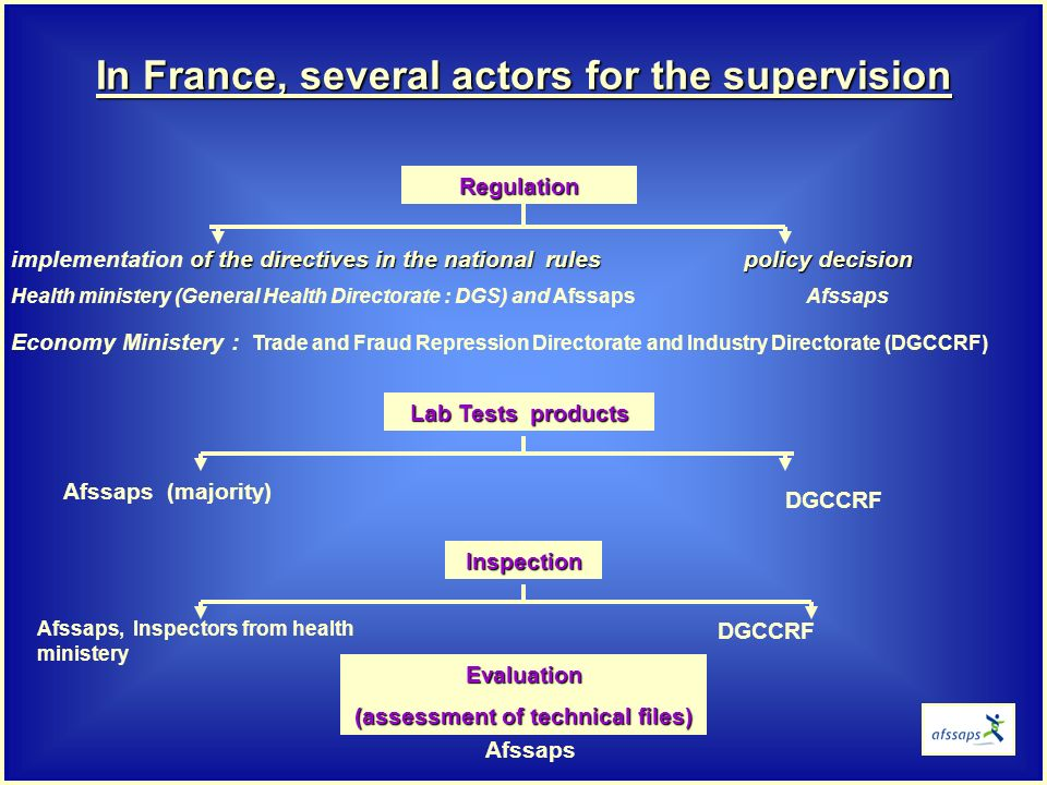 of the directives in the national rulespolicy decision implementation of the directives in the national rules policy decision Health ministery (General Health Directorate : DGS) and Afssaps Afssaps Economy Ministery : Trade and Fraud Repression Directorate and Industry Directorate (DGCCRF) In France, several actors for the supervision Regulation Lab Tests products Inspection Evaluation (assessment of technical files) Afssaps (majority) Afssaps, Inspectors from health ministery Afssaps DGCCRF