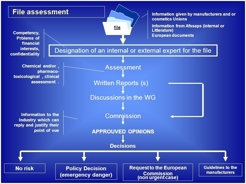 File assessment File assessment Designation of an internal or external expert for the file Assessment Written Reports (s) Discussions in the WG Commission Decisions Competency, Prblems of financial interests, confidentiality Information given by manufacturers and or cosmetics Unions Information from Afssaps (internal or Litterature) European documents Chemical and/or, pharmaco- toxicological, clinical assessment.