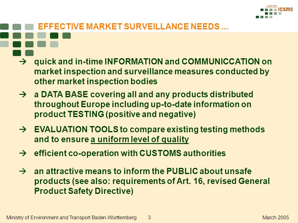 Ministry of Environment and Transport Baden-Württemberg3March 2005 EFFECTIVE MARKET SURVEILLANCE NEEDS...