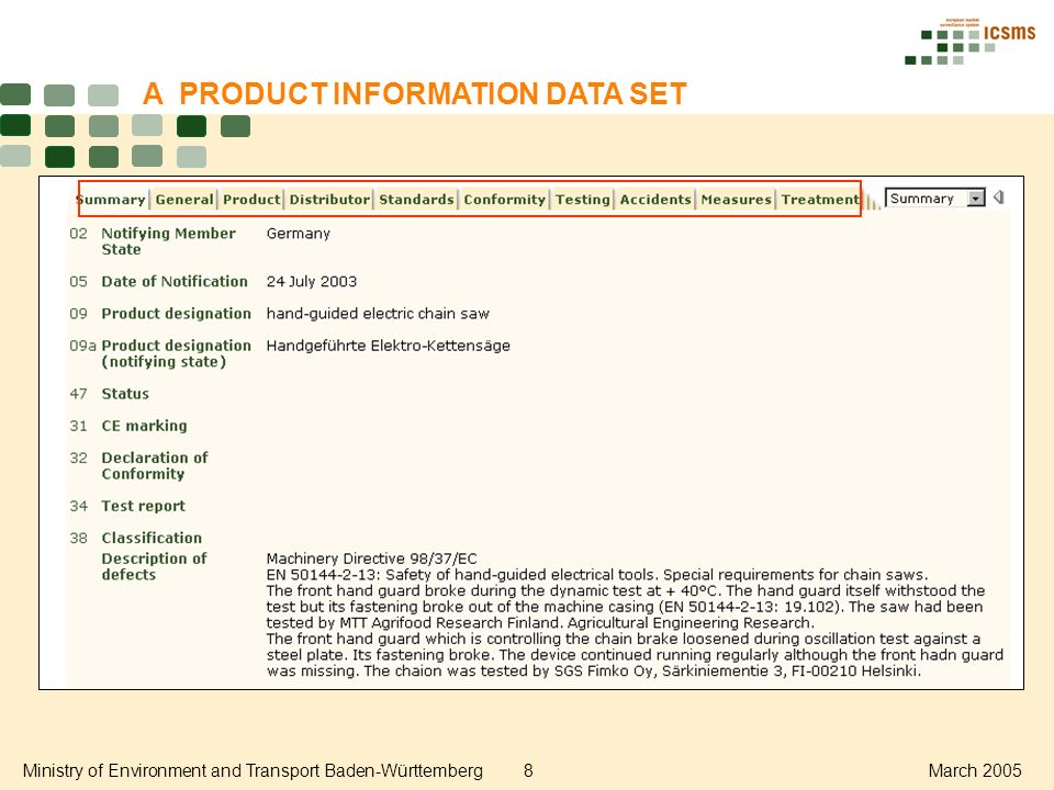 Ministry of Environment and Transport Baden-Württemberg8March 2005 A PRODUCT INFORMATION DATA SET