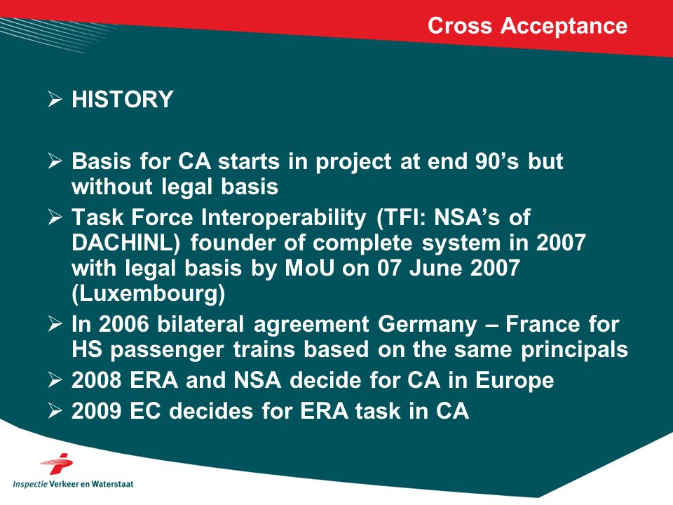 Cross Acceptance Today s situation: DACHINL 07-06-2007 MoU D – F agreement 2006 and update 2008, renewal 2010.