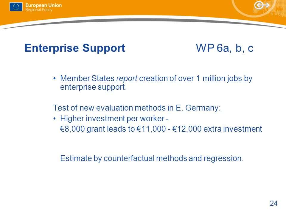 24 Enterprise SupportWP 6a, b, c Member States report creation of over 1 million jobs by enterprise support.