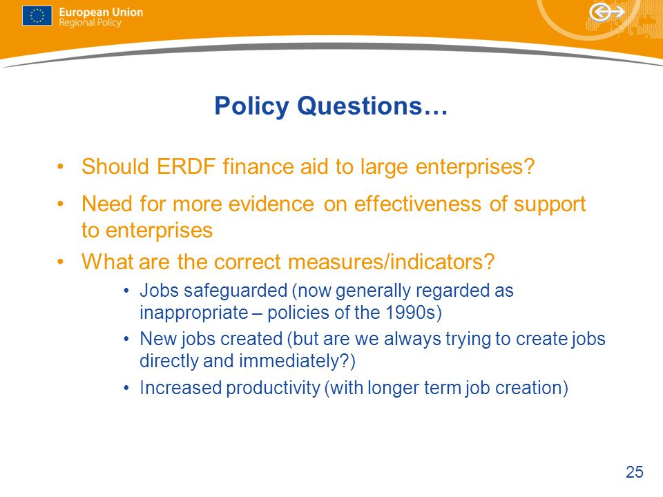 25 Policy Questions… Should ERDF finance aid to large enterprises.