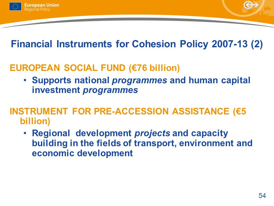 54 Financial Instruments for Cohesion Policy 2007-13 (2) EUROPEAN SOCIAL FUND (76 billion) Supports national programmes and human capital investment p