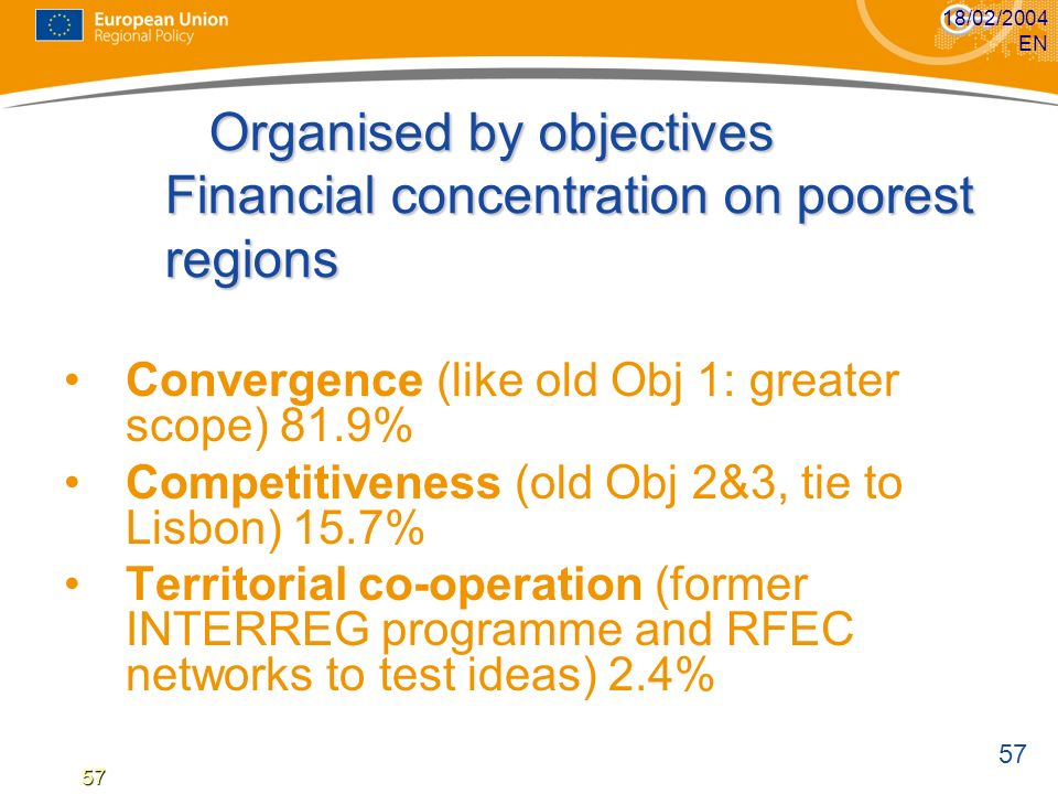 57 18/02/2004 EN57 Organised by objectives Financial concentration on poorest regions Organised by objectives Financial concentration on poorest regio