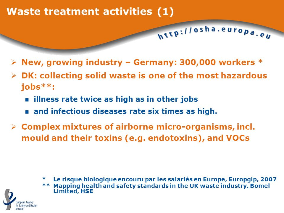 Waste treatment activities (1) New, growing industry – Germany: 300,000 workers * DK: collecting solid waste is one of the most hazardous jobs**: illness rate twice as high as in other jobs and infectious diseases rate six times as high.