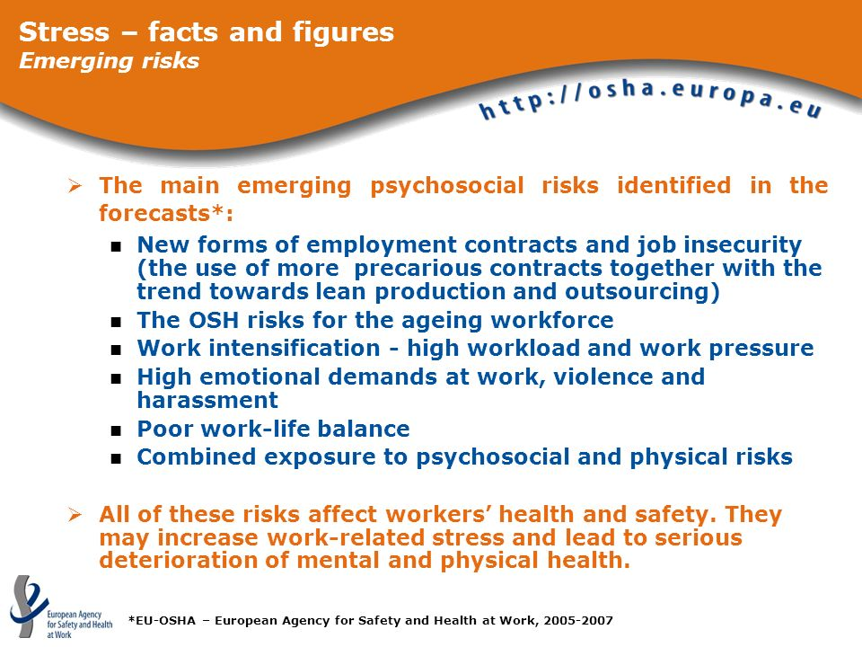 The main emerging psychosocial risks identified in the forecasts*: New forms of employment contracts and job insecurity (the use of more precarious co