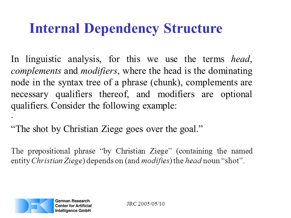 JRC 2005/05/10 Internal Dependency Structure. In linguistic analysis, for this we use the terms head, complements and modifiers, where the head is the