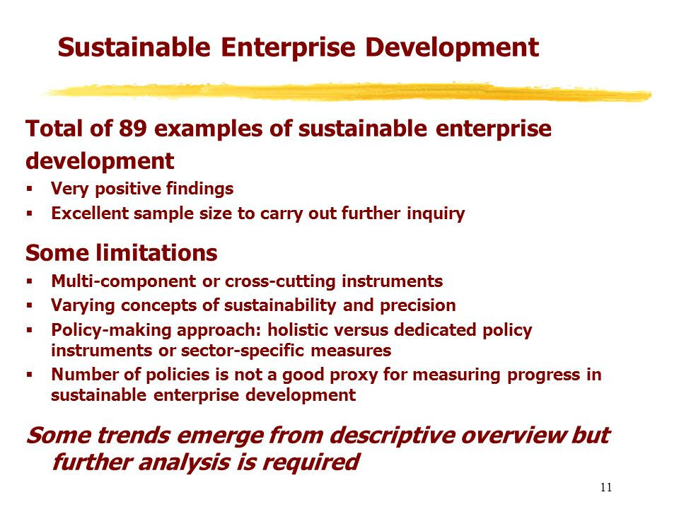 Sustainable Enterprise Development Total of 89 examples of sustainable enterprise development Very positive findings Excellent sample size to carry ou