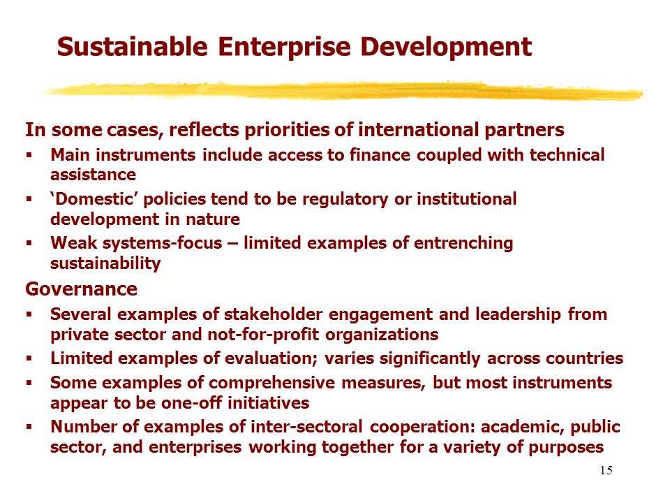 Sustainable Enterprise Development In some cases, reflects priorities of international partners Main instruments include access to finance coupled wit
