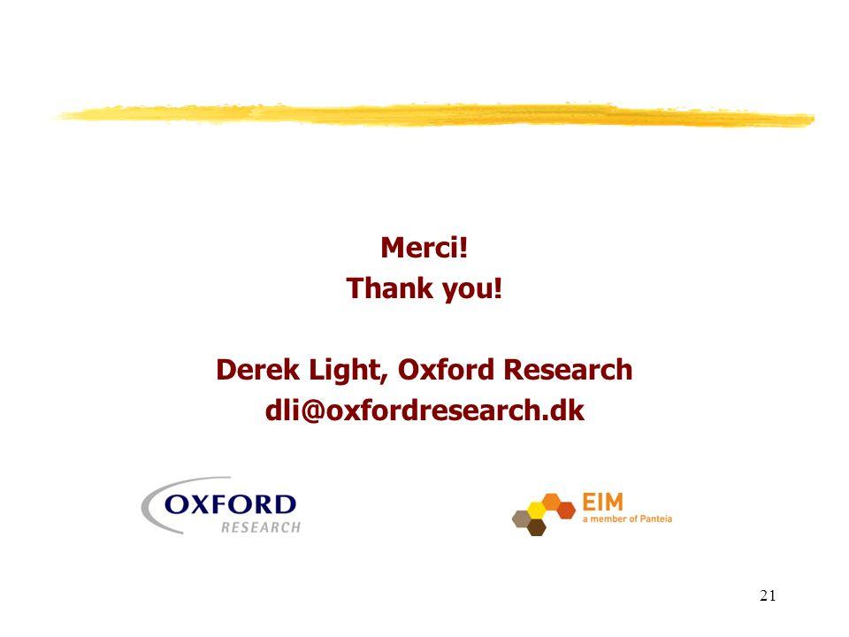 Merci! Thank you! Derek Light, Oxford Research dli@oxfordresearch.dk 21