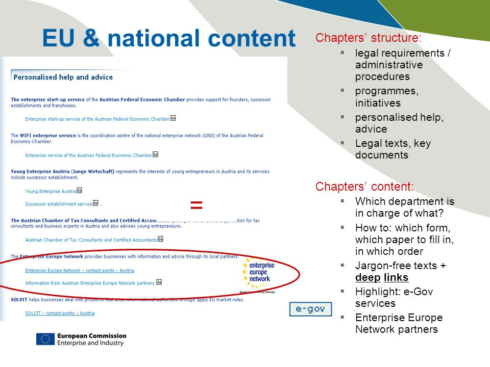EU & national content Chapters structure: legal requirements / administrative procedures programmes, initiatives personalised help, advice Legal texts, key documents Chapters content: Which department is in charge of what.