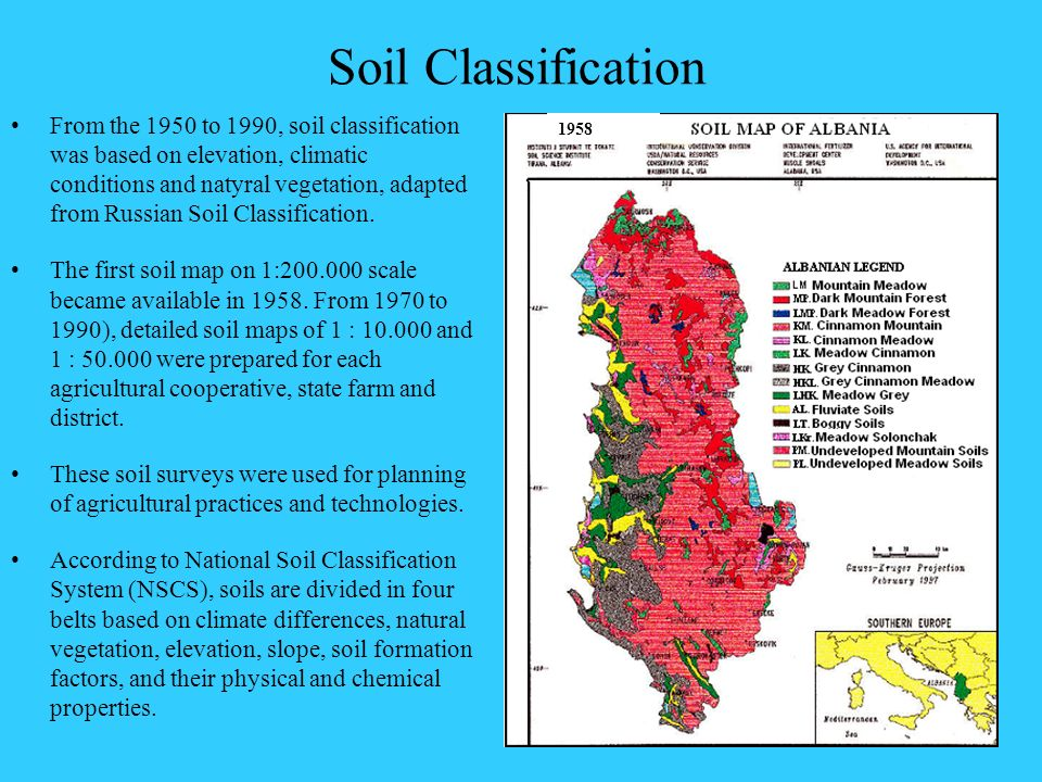 Soil Classification From the 1950 to 1990, soil classification was based on elevation, climatic conditions and natyral vegetation, adapted from Russia