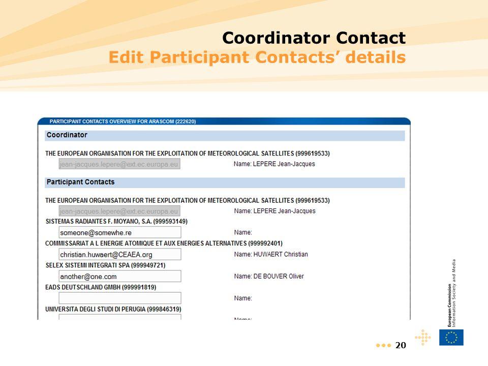 20 Coordinator Contact Edit Participant Contacts details