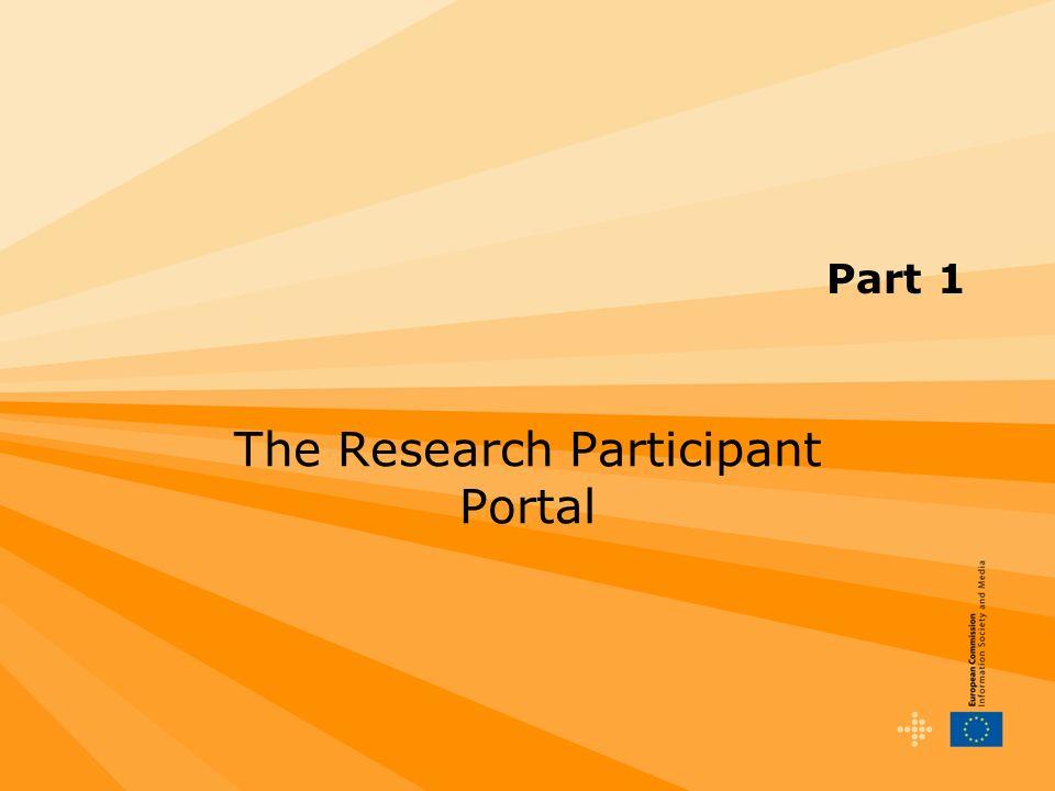 Part 1 The Research Participant Portal