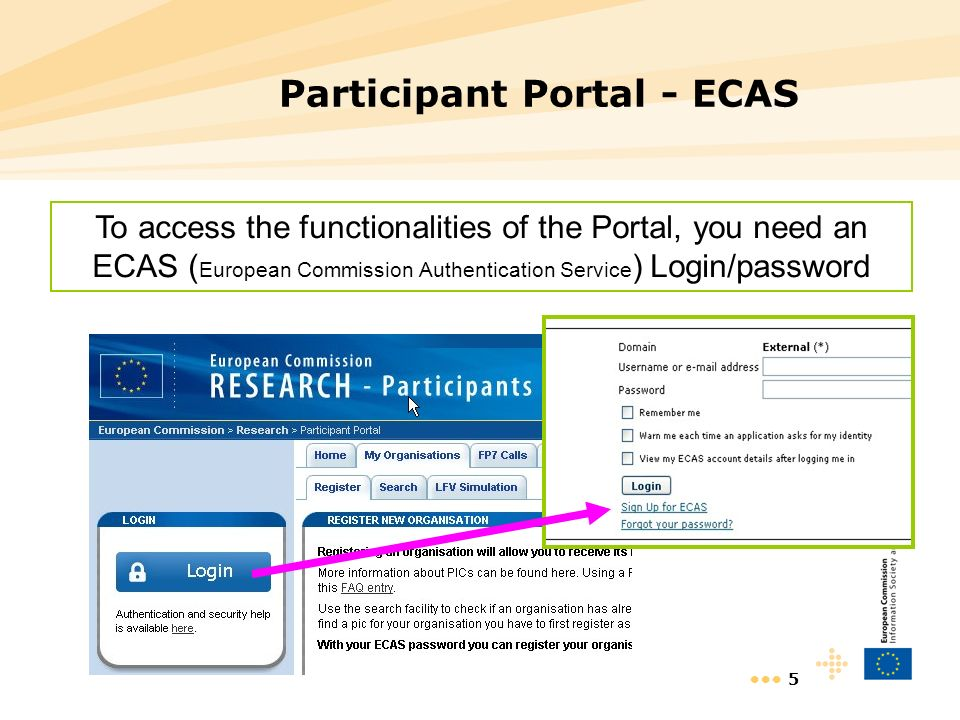5 Participant Portal - ECAS To access the functionalities of the Portal, you need an ECAS ( European Commission Authentication Service ) Login/password