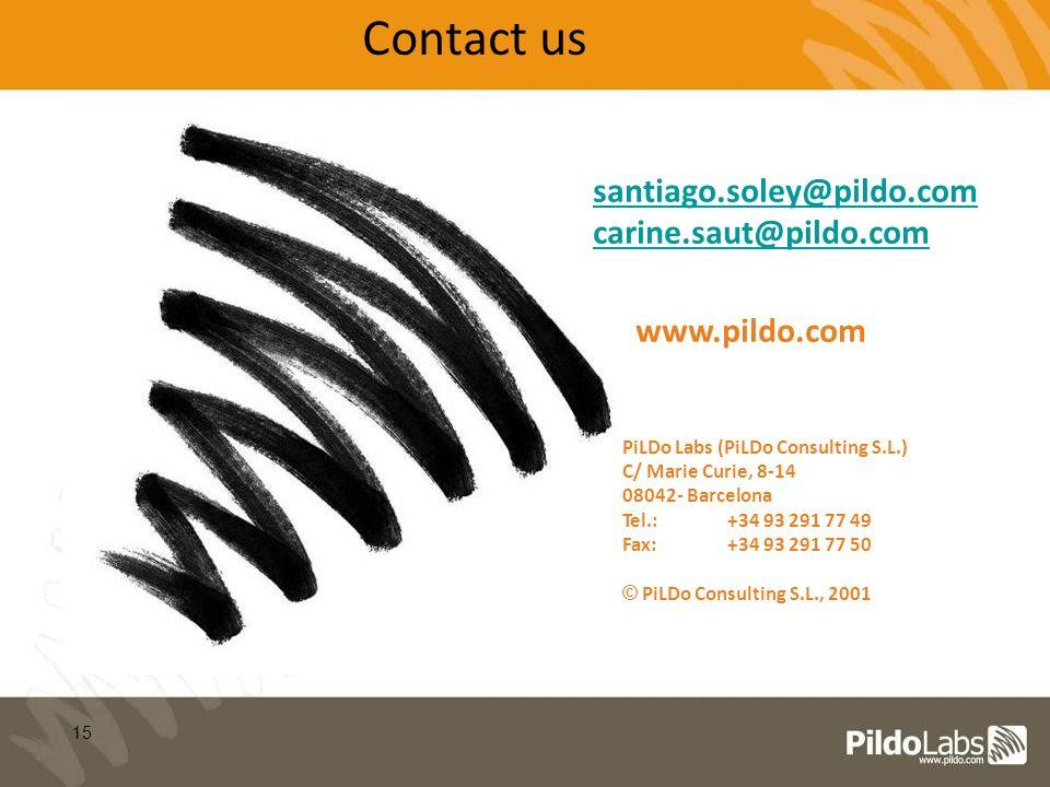 15 PiLDo Labs (PiLDo Consulting S.L.) C/ Marie Curie, 8-14 08042- Barcelona Tel.:+34 93 291 77 49 Fax:+34 93 291 77 50 © PiLDo Consulting S.L., 2001 santiago.soley@pildo.com carine.saut@pildo.com Contact us www.pildo.com