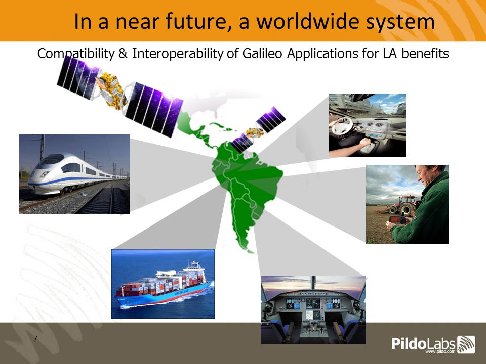 7 In a near future, a worldwide system Compatibility & Interoperability of Galileo Applications for LA benefits
