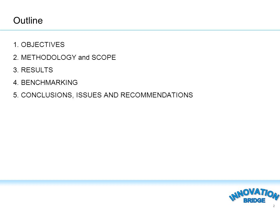 Outline 1. OBJECTIVES 2. METHODOLOGY and SCOPE 3.