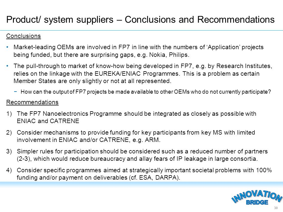 Conclusions Market-leading OEMs are involved in FP7 in line with the numbers of Application projects being funded, but there are surprising gaps, e.g.
