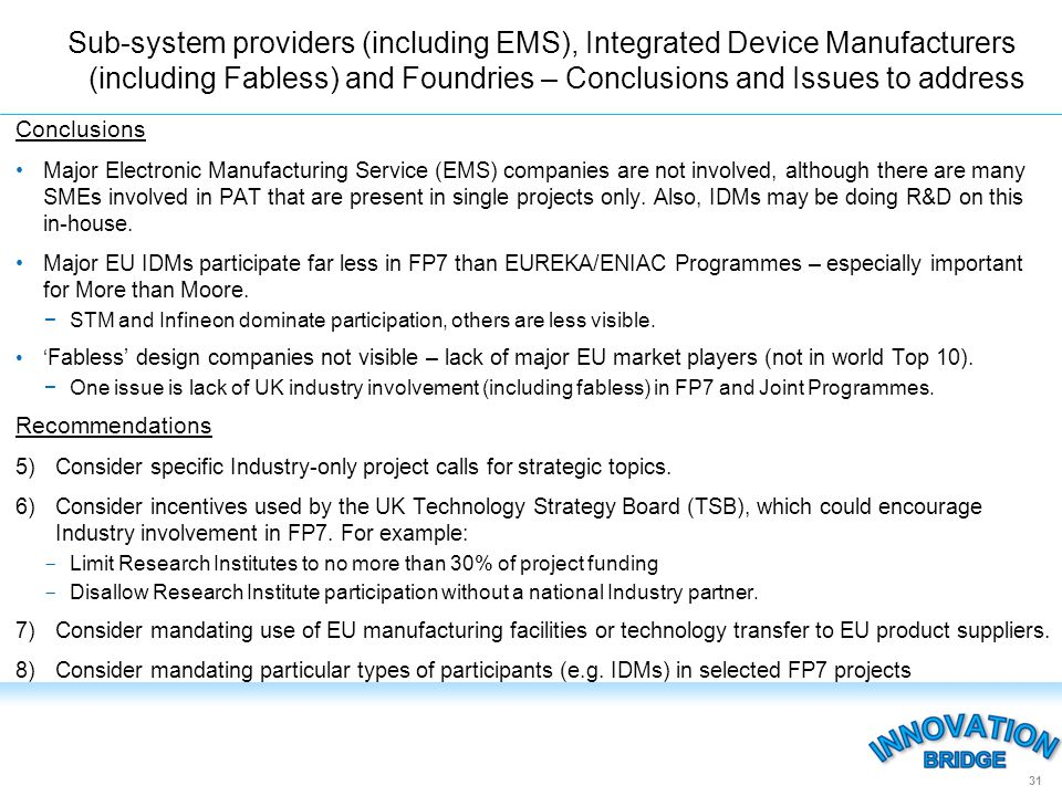 Conclusions Major Electronic Manufacturing Service (EMS) companies are not involved, although there are many SMEs involved in PAT that are present in single projects only.