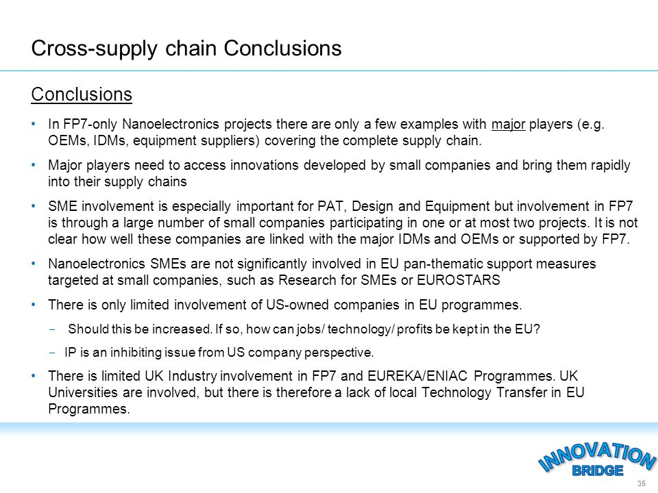 Conclusions In FP7-only Nanoelectronics projects there are only a few examples with major players (e.g.