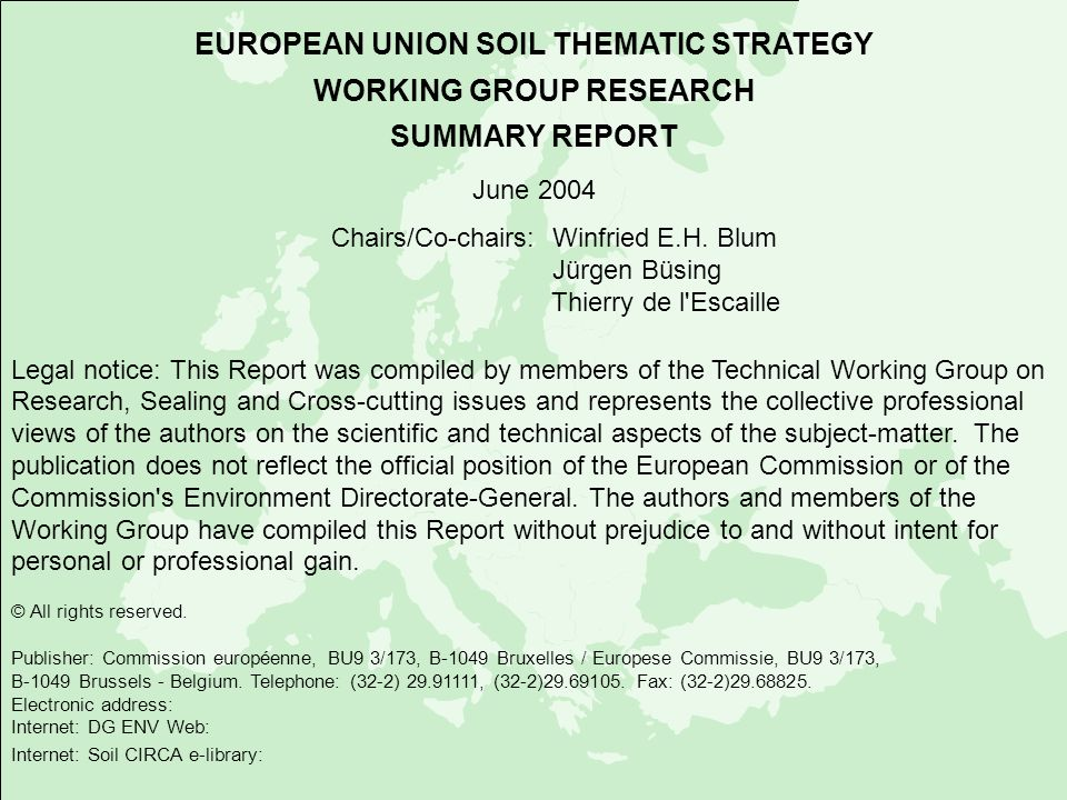 EUROPEAN UNION SOIL THEMATIC STRATEGY WORKING GROUP RESEARCH SUMMARY REPORT June 2004 Chairs/Co-chairs: Winfried E.H. Blum Jürgen Büsing Thierry de l'