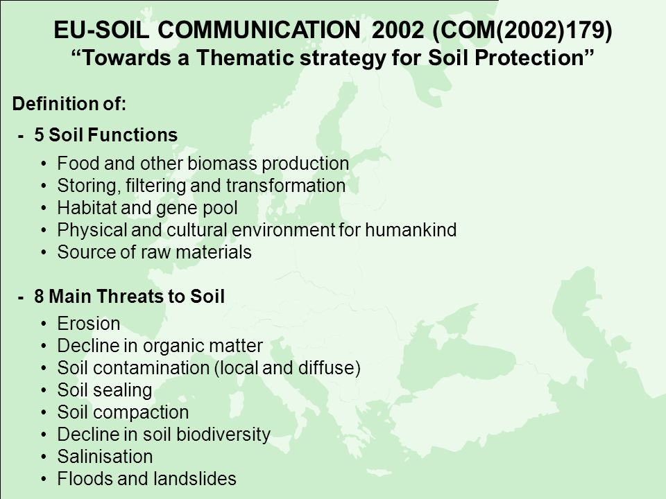EU-SOIL COMMUNICATION 2002 (COM(2002)179) Towards a Thematic strategy for Soil Protection Definition of: - 5 Soil Functions Food and other biomass pro