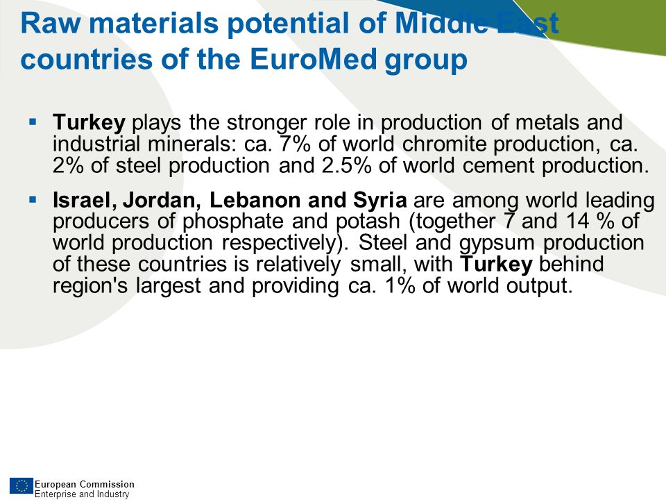 European Commission Enterprise and Industry Raw materials potential of Middle East countries of the EuroMed group Turkey plays the stronger role in production of metals and industrial minerals: ca.