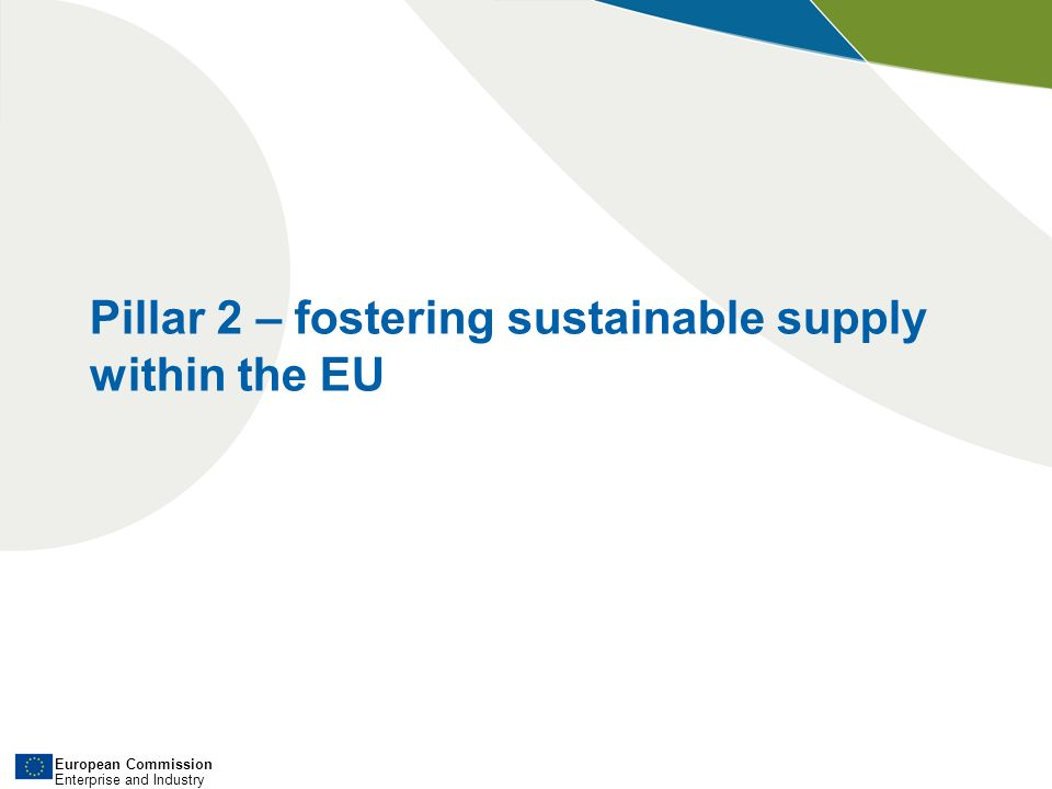 European Commission Enterprise and Industry Pillar 2 – fostering sustainable supply within the EU