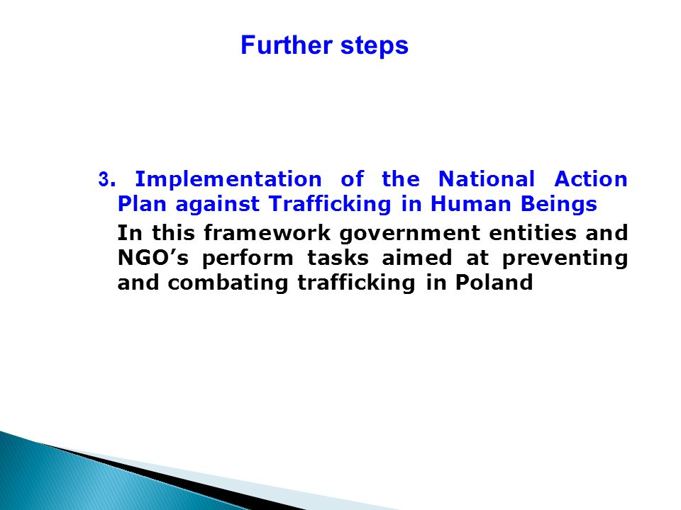 Further steps 3. Implementation of the National Action Plan against Trafficking in Human Beings In this framework government entities and NGOs perform