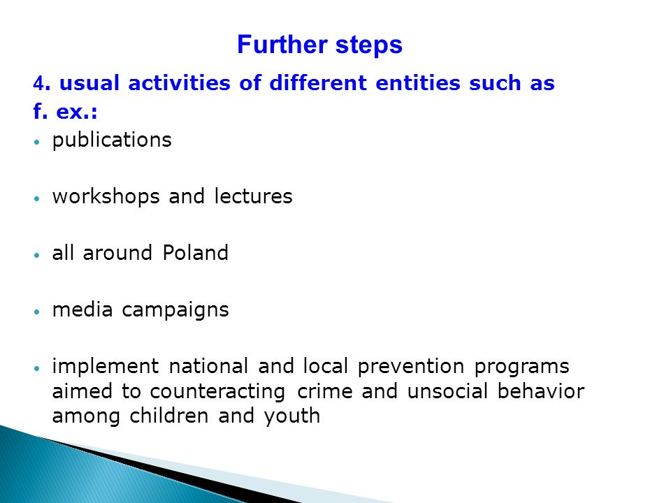 Further steps 4. usual activities of different entities such as f. ex.: publications workshops and lectures all around Poland media campaigns implemen