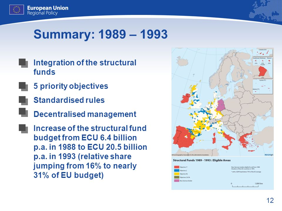 12 Summary: 1989 – 1993 Integration of the structural funds 5 priority objectives Standardised rules Decentralised management Increase of the structur
