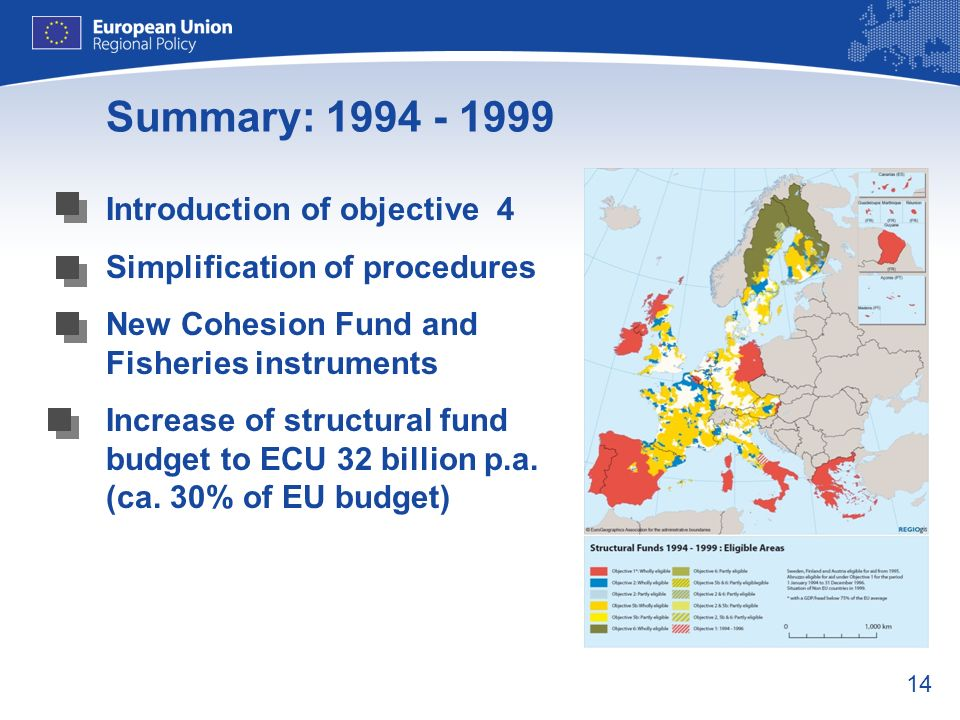 14 Summary: 1994 - 1999 Introduction of objective 4 Simplification of procedures New Cohesion Fund and Fisheries instruments Increase of structural fu
