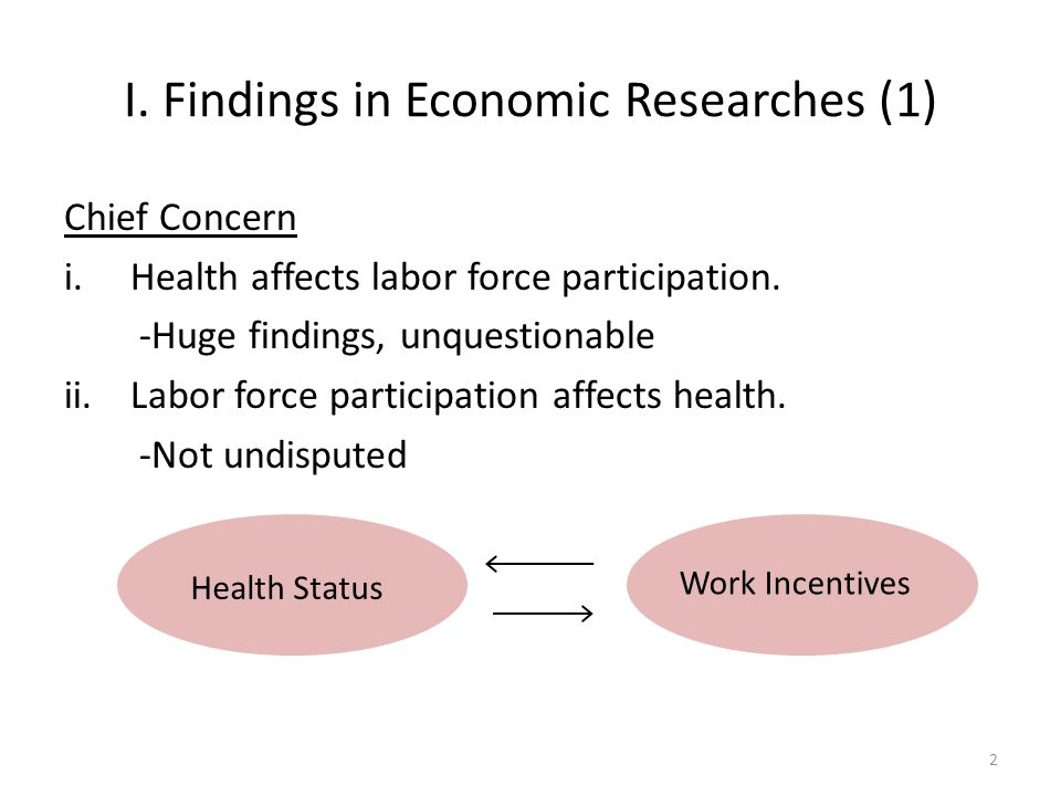 I. Findings in Economic Researches (1) Chief Concern i.Health affects labor force participation.