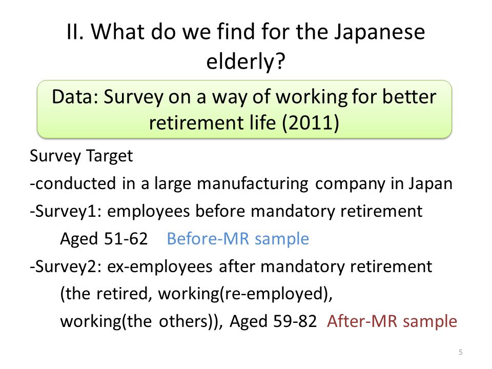 II. What do we find for the Japanese elderly? Survey Target -conducted in a large manufacturing company in Japan -Survey1: employees before mandatory