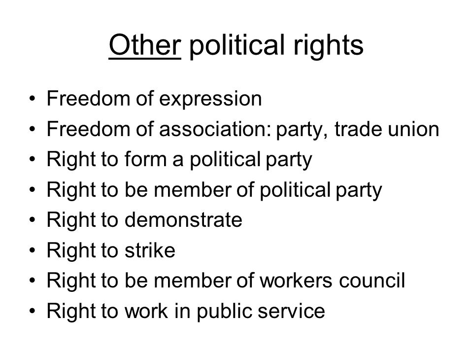 Other political rights Freedom of expression Freedom of association: party, trade union Right to form a political party Right to be member of political party Right to demonstrate Right to strike Right to be member of workers council Right to work in public service