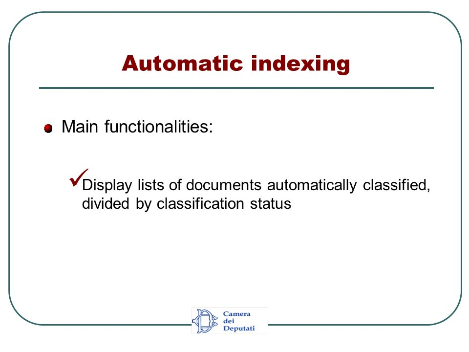 Main functionalities: Display lists of documents automatically classified, divided by classification status