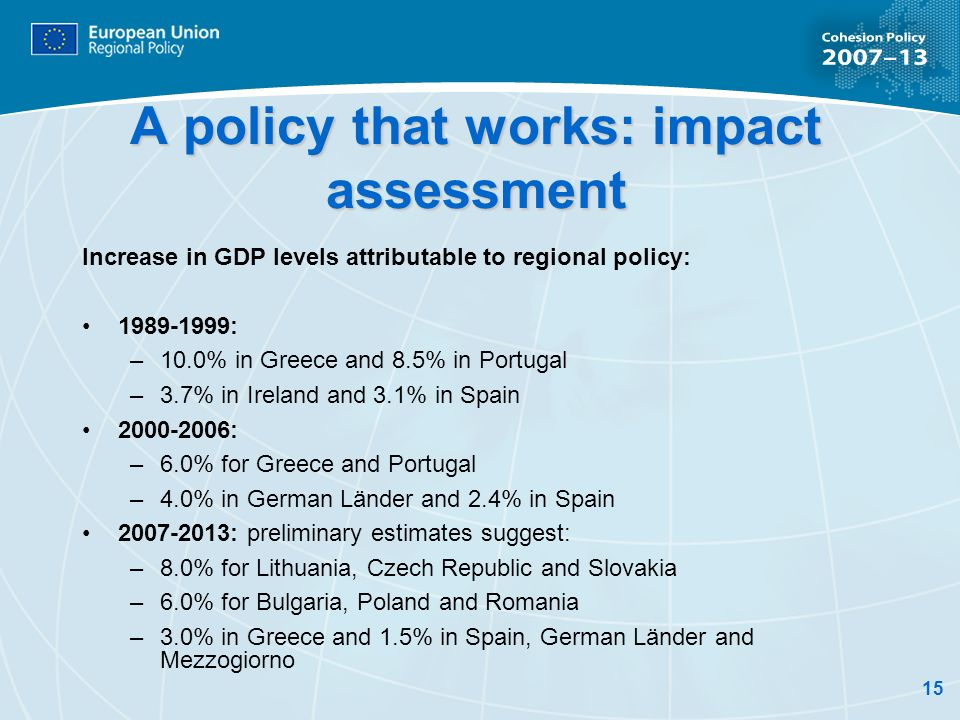 15 A policy that works: impact assessment Increase in GDP levels attributable to regional policy: 1989-1999: –10.0% in Greece and 8.5% in Portugal –3.